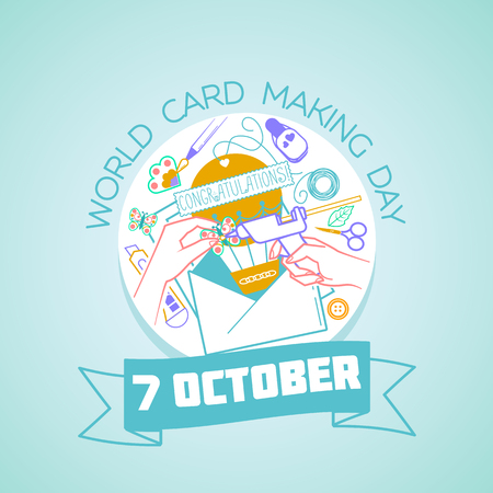 Calendar for each day on october 7. Greeting card. Holiday - World Card Making Day. Icon in the linear style