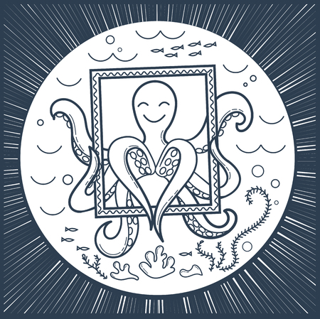 smartphone icon: illustration of an octopus in the sea that makes selfie, holds a frame and shows the heart. Icon black and white, silhouette.