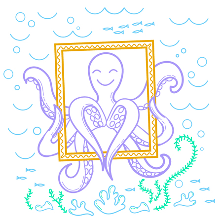 illustration of an octopus in the sea that makes selfie, holds a frame and shows the heart. Icon in the linear style Illustration