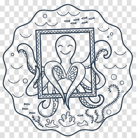 smartphone icon: logo for education, childrens creativity, drawing, in the form of an octopus, who has many hands, as a symbol of multitasking, creativity octopus does with love. Icon, silhouette in the linear style Illustration