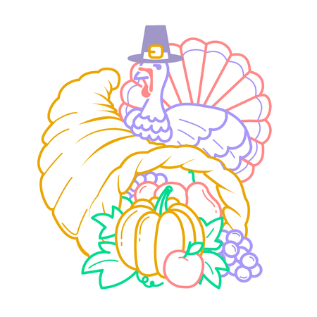Icon on the Thanksgiving day. Icon in the linear style in the form of a cornucopia and a turkey