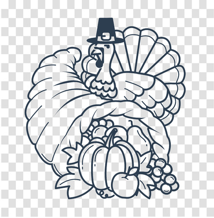Icon, silhouette on the Thanksgiving day. Icon in the linear style in the form of a cornucopia and a turkey Illustration