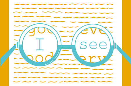 concept of vision recovery, I see in the form of a point and a test for reading. Icon in the linear style