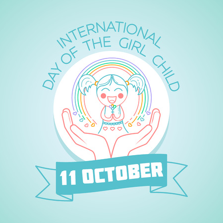 Calendar for each day on october 11. Greeting card. Holiday - International Day of the Girl Child. Icon in the linear style Ilustração