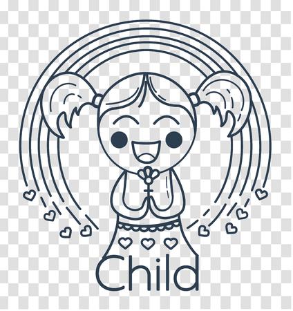 Konzept der Kinder Kreativität, Kinderclub, Freiwilligenarbeit in Form eines kleinen Mädchens mit einem Regenbogen. Ikone, Silhouette in der linearen Art Standard-Bild - 87891056