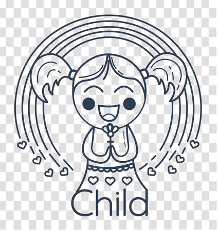 concept of childrens creativity, childrens club, volunteering in the form of a small girl with a rainbow. Icon, silhouette  in the linear style