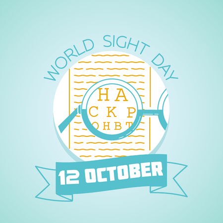 Calendar for each day on october 12. Greeting card. Holiday -  World Sight Day. Icon in the linear style
