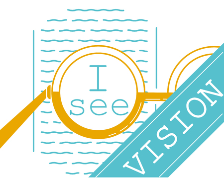 concept of vision recovery, vision correction, in the form of a glasses and a test for reading. banner in the linear style. banner in the linear style