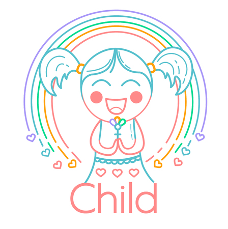 concept of childrens creativity, childrens club in the form of a small girl with a rainbow. Icon, logo  in the linear style Ilustração