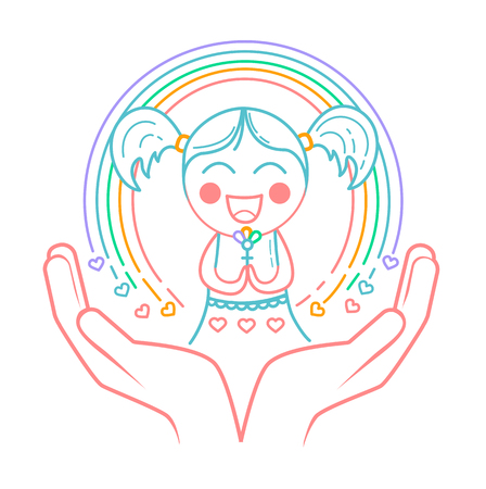 concept of giving birth to a girl, caring, motherhood, love, protecting girls, women in the form of a little girl with a rainbow and hands as a symbol of love and care. Icon in the linear style Ilustração