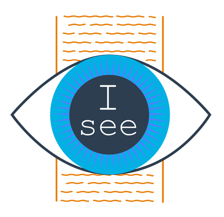 concept of seeing the truth, in the form of an eye with the inscription I see. icon in the linear style Illustration