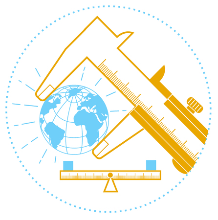 concept of measurement, calculation in the form of a calipers measuring the earth and scales.  Icon in the linear style