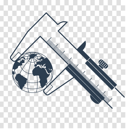 concept of measurement, calculation in the form of a calipers measuring the earth.  Icon, silhouette in the linear style