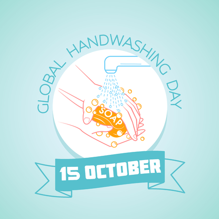 Calendar for each day on october 15. Greeting card. Holiday -  Global Handwashing Day. Icon in the linear style
