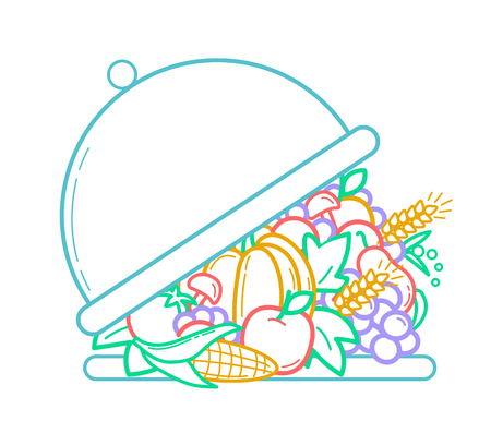 concept of nutrition, health, abundance, menu, vegetarianism as a opening tray and a variety of fruits and vegetables. Icon  in the linear style Illustration