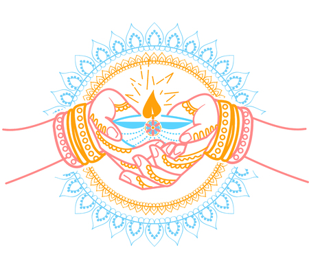 illustration in the form of a praying woman with a lamp and the energy emanating from her. Icon of Indian holiday, wedding in the linear style