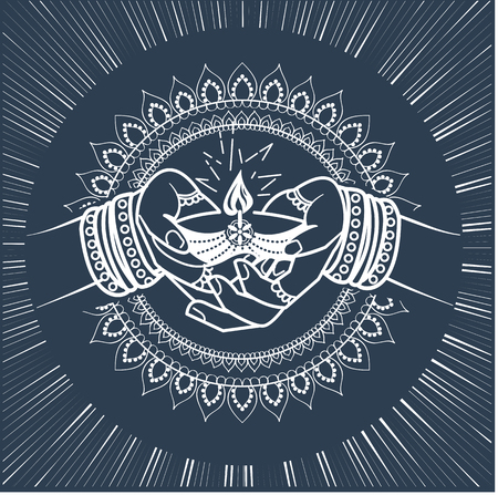 illustration in the form of a praying woman with a lamp and the energy emanating from her. Icon, silhouette of Indian holiday, wedding in the linear style