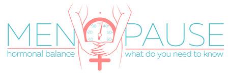 concept van de menopauze in de vorm van een silhouet van een vrouw met een klok die de leeftijd meet. banner in een lineaire stijl met de inscriptie harmonische balans Stock Illustratie