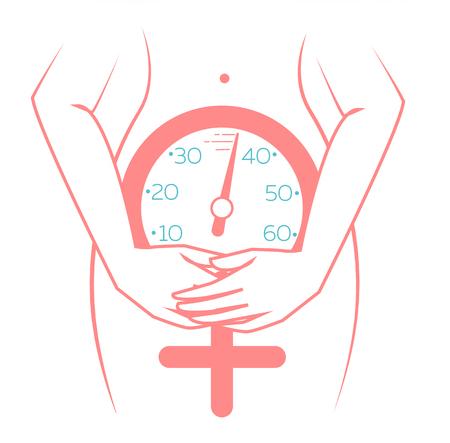 concept van de menopauze in de vorm van een silhouet van een vrouw met een klok die de leeftijd meet. pictogram in een lineaire stijl Stock Illustratie