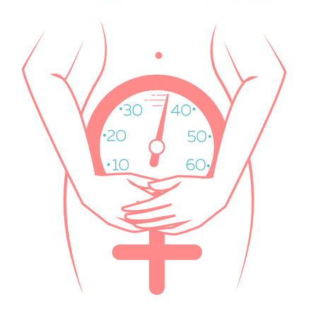 concept of menopause in the form of a silhouette of a woman with a clock measuring age. icon in a linear style