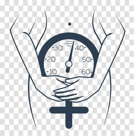 concept of menopause in the form of a silhouette of a woman with a clock measuring age. icon, silhouette in a linear style