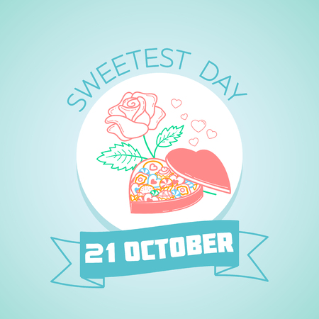 Calendar for each day on october 21. Greeting card. Holiday -  Sweetest Day. Icon in the linear style Illustration