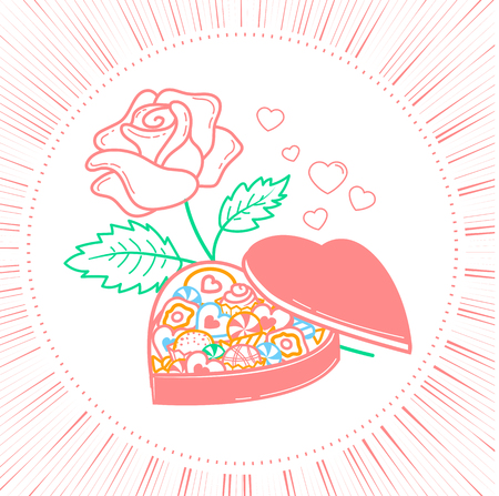 icon for Valentines day in the form of a box of chocolates in the form of a heart and roses. Icon in the linear style