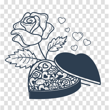 icon for Valentines day in the form of a box of chocolates in the form of a heart and roses. Icon, silhouette in the linear style