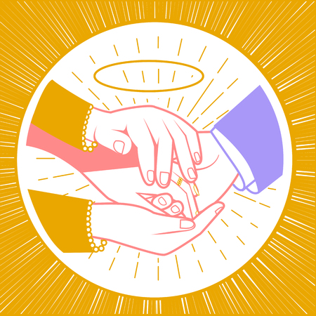 concept of the blessing of the newlyweds in the form of mother hands that bless the hands of the newlyweds. Icon in the linear style
