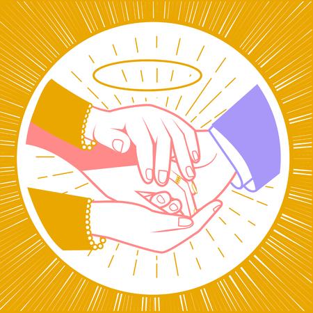 concept van de zegening van de pasgetrouwden in de vorm van moederhanden die de handen van de pasgetrouwden zegenen. Pictogram in de lineaire stijl