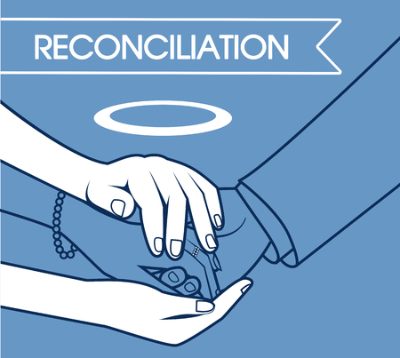 concept of the direction of the work of a psychologist, the reconciliation of the parties, in the form of hands connecting people.  illustrationin the linear style
