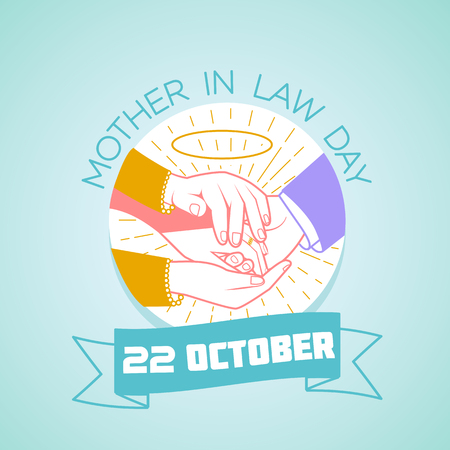 Calendar for each day on october 22. Greeting card. Holiday -  Mother in law Day. Icon in the linear style Illustration