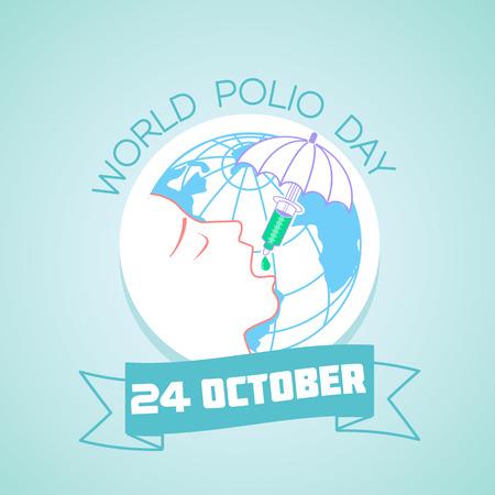 Kalender voor elke dag op 24 oktober. Wenskaart. Vakantie - Wereld Polio Dag. Pictogram in de lineaire stijl