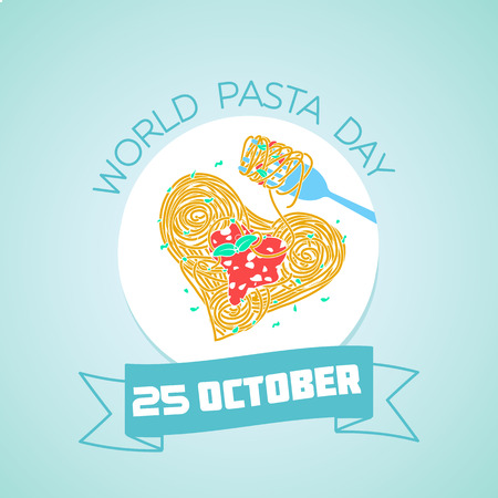 Calendar for each day on october 25. Greeting card. Holiday -  World Pasta Day. Icon in the linear style