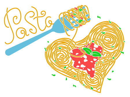 banner about pasta, Italian cuisine, heart-shaped with a fork on the inscription in the form of spaghetti. Icon in the flat style