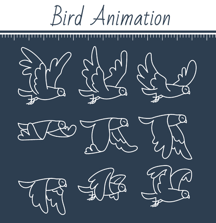 Animation of a dove vector illustration.
