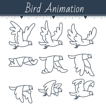 Animatie van een duif vectorillustratie.