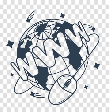 concept van communicatie op internet, verkoop in de vorm van een computermuis, die rond de aarde draait met de inscriptie WWW. pictogram, silhouet in de lineaire stijl