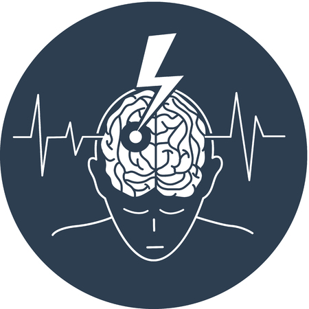 concept of the disease is a stroke in the form of a silhouette of a man and an arrow that engenders the brain, as a symbol of the disease and on the background of a cardiogram.  black and white illustration