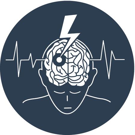 El concepto de la enfermedad es un derrame cerebral en forma de una silueta de un hombre y una flecha que engendra el cerebro, como un símbolo de la enfermedad y en el fondo de un cardiograma. Ilustración en blanco y negro Foto de archivo - 88598129