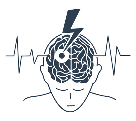 concept of the disease is a stroke in the form of a silhouette of a man and an arrow that engenders the brain, as a symbol of the disease and on the background of a cardiogram. icon, silhouette in a linear style Vector Illustration