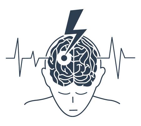 Begriff der Krankheit ist ein Schlaganfall in Form einer Silhouette eines Mannes und eines Pfeils, der das Gehirn als Symbol für die Krankheit und auf dem Hintergrund eines Kardiogramms erzeugt. Ikone, Silhouette in einer linearen Art