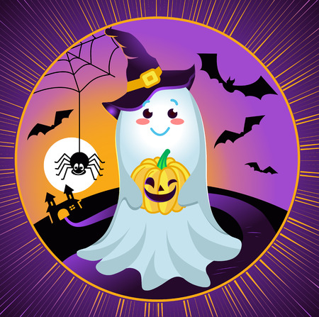 illustration for a Halloween holiday in the form of a smiling, kind ghost holding a pumpkin against the backdrop of flying mice, a spider and a castle. Illustration