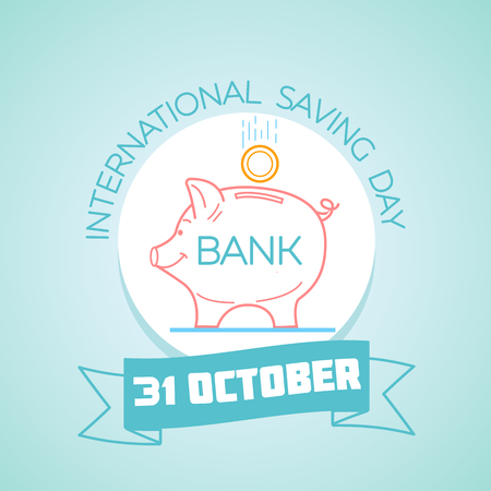 Calendar for each day on October 31. Greeting card. Holiday -  International Saving Day. Icon in the linear style.