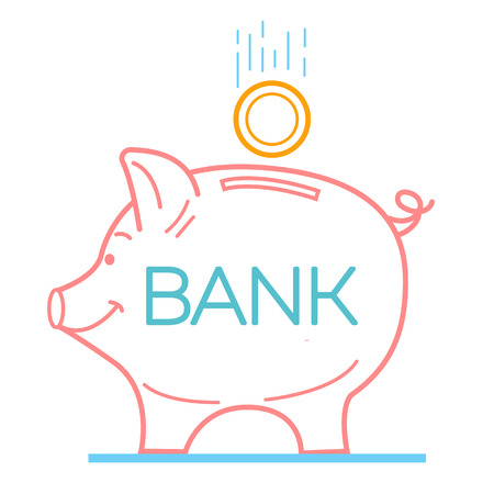 Concept of saving money in a bank in the form of a piggy piglet and a falling coin. Icon in the linear style. Illustration
