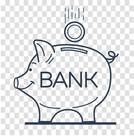 Concept of saving money in a bank in the form of a piggy piglet and a falling coin. Icon, silhouette in the linear style.