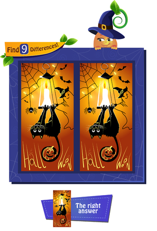 Visual game for children and adults. Task to find 9 differences. Educational game for children. Cartoon vector illustration on Halloween, black cat