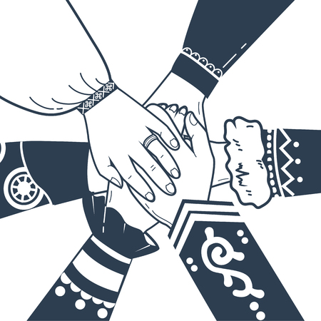 concept of unity, friendship, solidarity of the people in the form of hands. Ilustração