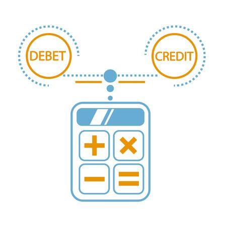 Concept de calcul de débit et de crédit, bilan, comptabilité sous forme de calcul d'une calculatrice. Icône dans le style linéaire Banque d'images - 89092651
