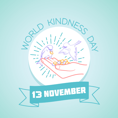 Calendar for each day on november 13. Greeting card. Holiday -  World Kindness Day. Icon in the linear style